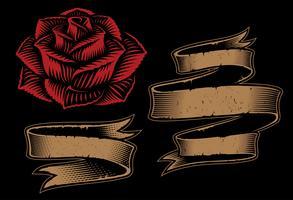 Vetorial, ilustração, de, fitas, e, rosa vetor