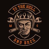 Ilustração a preto e branco de um motociclista do diabo vetor