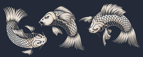 Conjunto de ilustrações de carpa koi