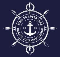 Ilustração em vetor de corda de roda de um navio em fundo escuro