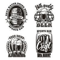 Conjunto ilustração de cerveja no fundo branco
