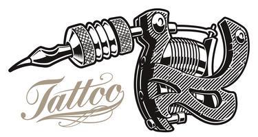 Vetorial, ilustração, de, um, tatuagem, máquina