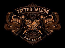 Ilustração vintage de máquinas de tatuagem
