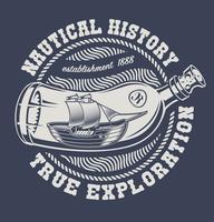 Vetorial, ilustração, de, um, garrafa, com, navio vetor