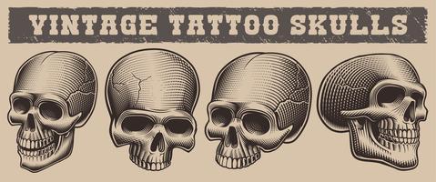 Conjunto de ilustração a preto e branco de crânios vetor