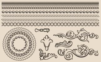 Conjunto de elementos barrocos de vetor, cadeias de design. vetor