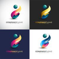 Modelo de logotipo de pessoas 3d abstrata para sua marca de empresa vetor