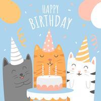 Saudação de desenhos animados de gatos de animais feliz aniversário vetor