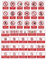 Modelos de sinalização turca, sinal de perigo, sinal proibido, sinais de segurança e saúde no trabalho, placa de aviso, sinal de emergência de incêndio. para adesivos, pôsteres e outros materiais de impressão. fácil de modificar. vetor. vetor