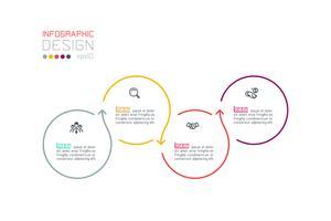 Infográfico de rótulo de círculo com passo a passo. vetor
