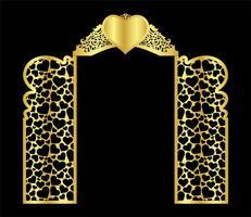 molde do vetor da porta do arco do casamento para o corte do laser do vinil a decoração é um teste padrão a céu aberto estilizado de. portão de modelo de corte a laser.