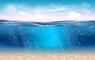 Fundo subaquático realista. As águas profundas do oceano, mar sob o nível de água, sol irradiam o horizonte azul da onda. Superfície da água conceito 3D vector