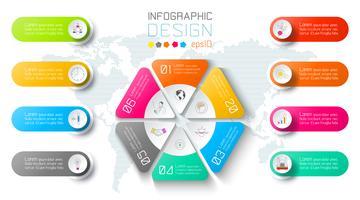 Infográfico de negócios no fundo do mapa mundo com 8 rótulos ao redor do círculo de hexágono.