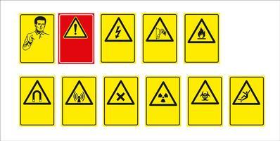 conjunto de sinal obrigatório, sinal de perigo, sinal proibido, sinais de segurança e saúde no trabalho, placa de aviso, sinal de emergência de incêndio. para adesivos, pôsteres e outros materiais de impressão. fácil de modificar. vetor. vetor