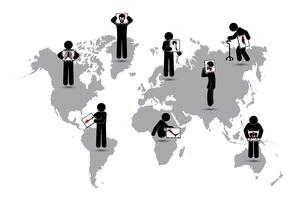 Homem de pau manter tela do monitor: mostrar o esqueleto, mapa do mundo (conceito mundial de saúde) (Tuberculose pulmonar, artrite, espondilose cervical, espondilolistese lombar, escoliose, acidente vascular cerebral)
