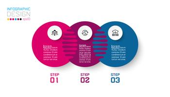 Três infográficos de círculo harmonioso. vetor