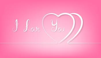 Linha abstrata coração dos pares no fundo cor-de-rosa.
