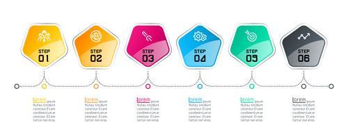 Pentagons rótulo infográfico com 6 passos vetor