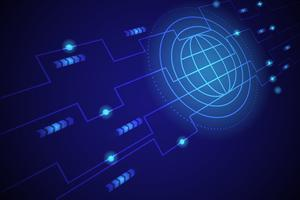 Linha de mundo digital fundo azul vetor