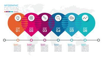 Seis infográficos de círculo harmonioso.