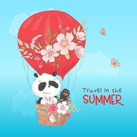 Cartaz do cartão de um panda bonito em um balão com as flores no estilo dos desenhos animados. Desenho à mão.