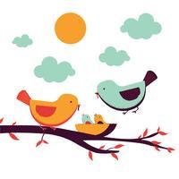 Família de pássaros vetor