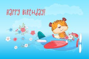 Tigre bonito do cartaz do cartão no plano no estilo dos desenhos animados. Desenho à mão. vetor