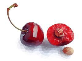 Arte vetorial de cereja vermelha polígono vetor