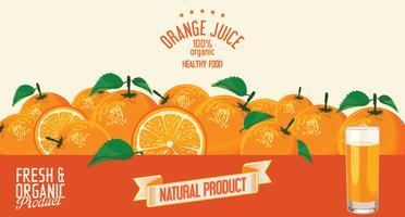 Suco de laranja e fatias de fundo laranja vetor