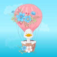 Cartaz do cartão de um patinho bonito em um balão com as flores no estilo dos desenhos animados. Desenho à mão. vetor