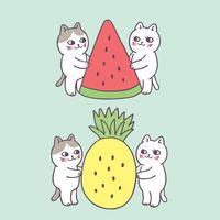 Gato bonito do verão dos desenhos animados e vetor dos frutos.