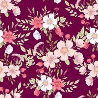 Padrão sem emenda de flores silvestres. Mão, desenho, vetorial, ilustração