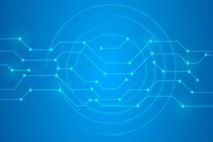 Linha de círculo digital fundo azul vetor