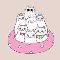 Gatos bonitos do verão dos desenhos animados e vetor do anel de vida.