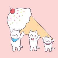 Gatos bonitos do verão dos desenhos animados e vetor do gelado.