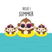 Olá Verão bonito macaco dos desenhos animados.