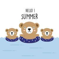 Olá Verão urso bonito dos desenhos animados.