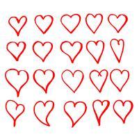 Mão, desenhado, coração, ícone, sinal vetor