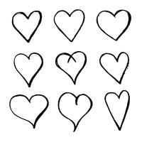 Mão, desenhado, coração, ícone vetor