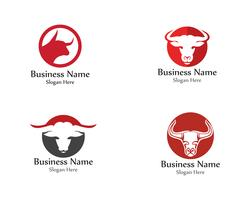 Vetor de animal de logotipo vermelho de chifre de cabeça de touro