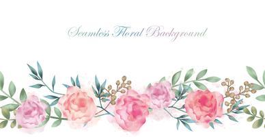 Fundo sem emenda da flor da aguarela com o espaço do texto isolado em um fundo branco. vetor
