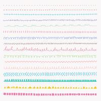 Conjunto de texturas de mão desenhada de linha. Coleção natural de vetor.