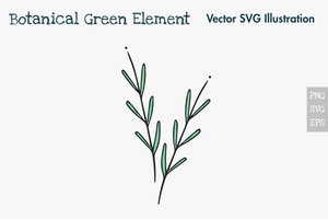 Único elemento verde botânico tirado mão. vetor