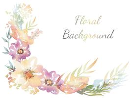 Fundo de flores em aquarela com espaço de texto vetor