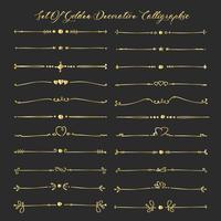 Conjunto De Elementos Caligráficos Decorativos Dourados Para A Decoração. Ilustração vetorial artesanal. vetor