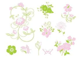 Pacote de vetores florais rosa e verde