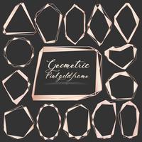 Conjunto de moldura geométrica de ouro, elemento decorativo para cartão de casamento, convites e logotipo. Ilustração vetorial