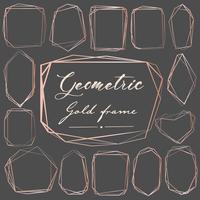 Conjunto de quadro geométrico de ouro rosa, elemento decorativo para cartão de casamento, convites e logotipo. Ilustração vetorial