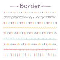 Conjunto De Fronteiras Do Doodle Colorido. Ilustração vetorial. vetor