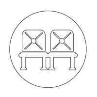 Ícone de assento de aeroporto de sinal de espera vetor